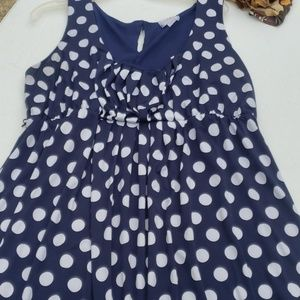 A PEA IN A POD NAVY POLKA DOT MATERNITY DRESS L